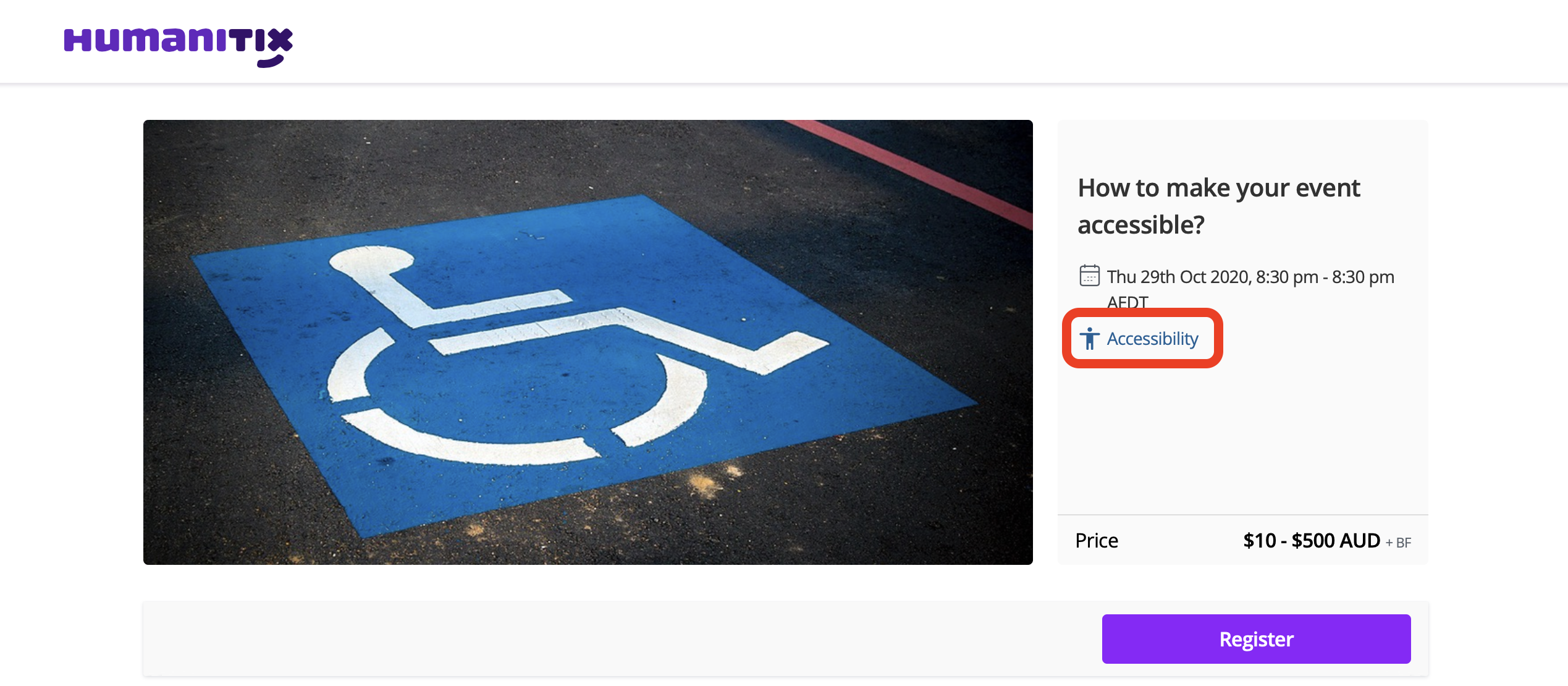 Event listing page with accessibility button