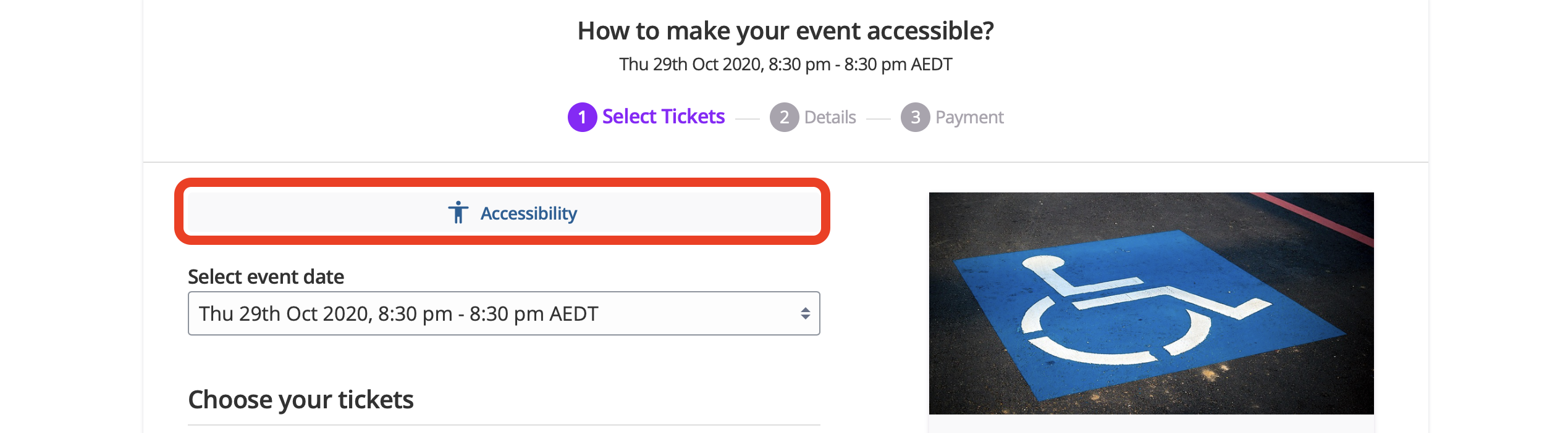 Ticketing checkout page with accessibility button