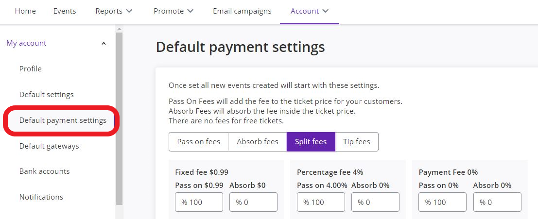 Account > My account > Default payment settings > Split fees