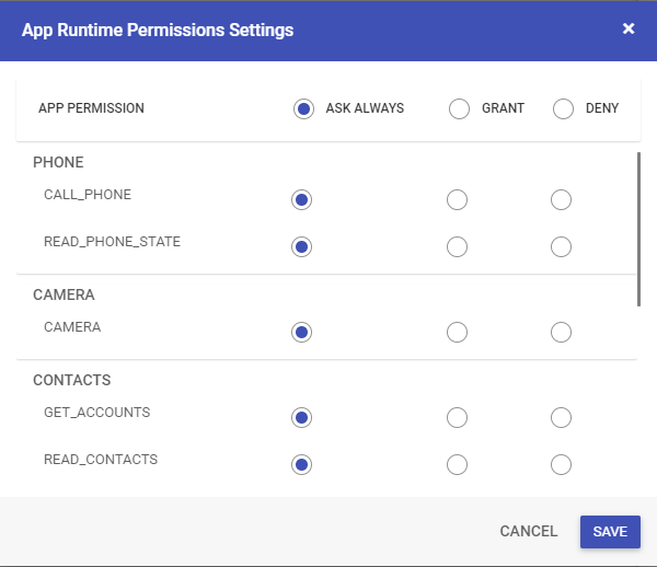 App Runtime Permission Settings
