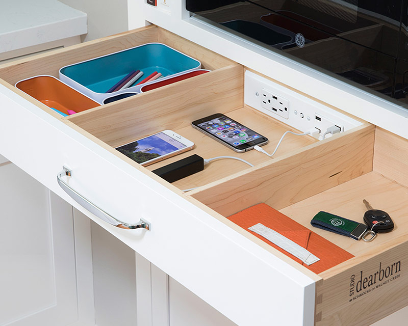 Docking Drawer Blade Duo with USBC outlet in kitchen