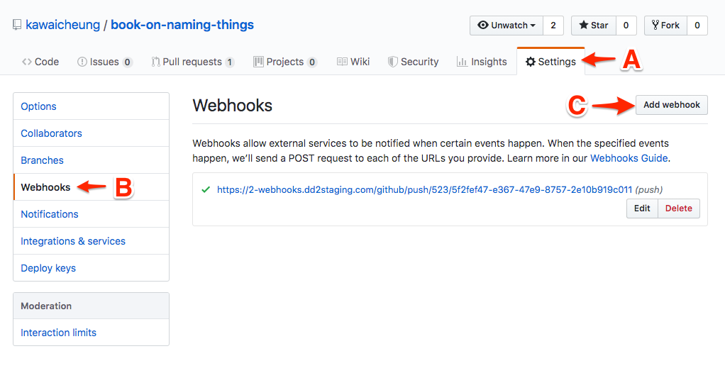 Github image showing how to add a new webhook