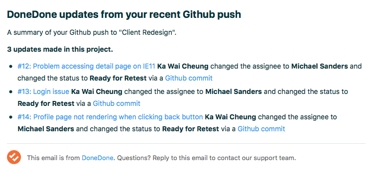 Image of DoneDone email summary after Github merge