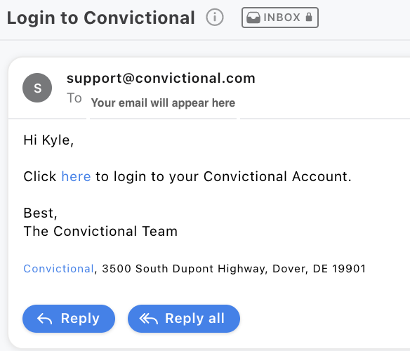sign in email sent from convictional