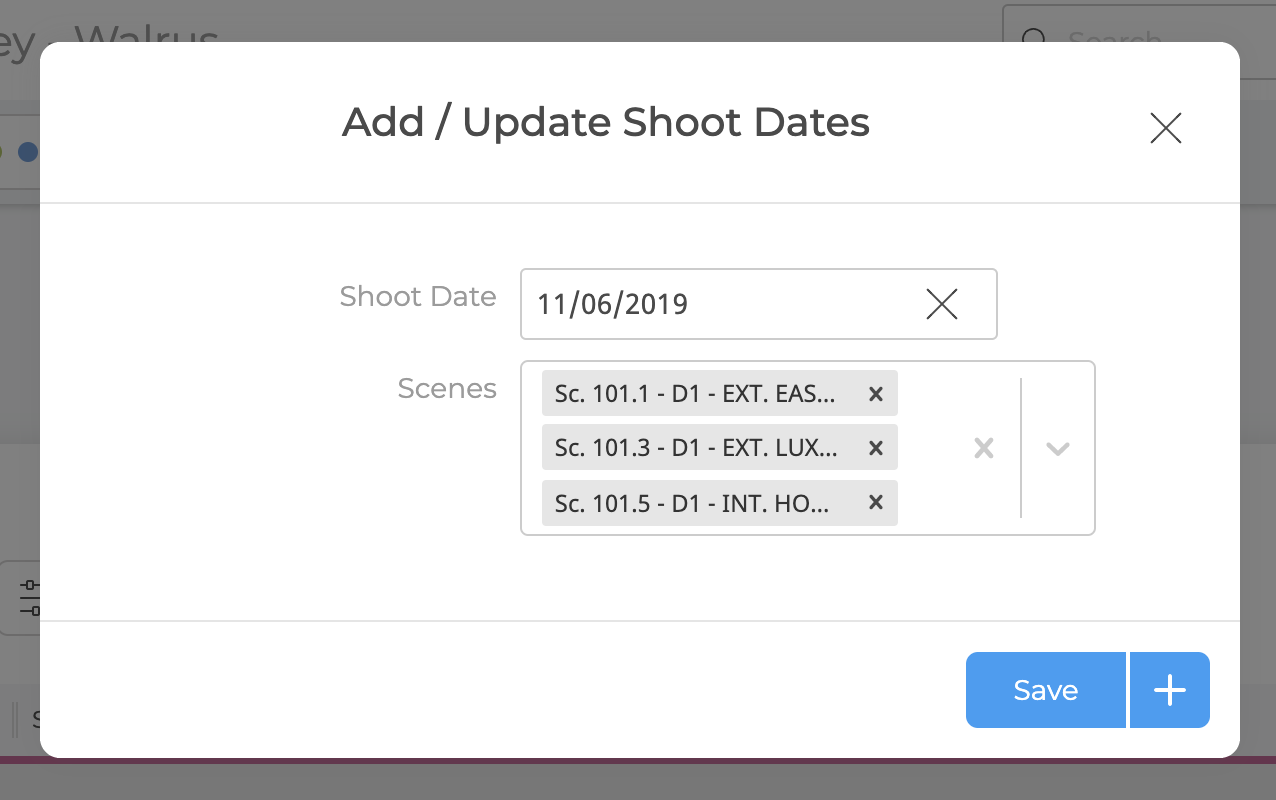 Add Update Shoot Dates Menu