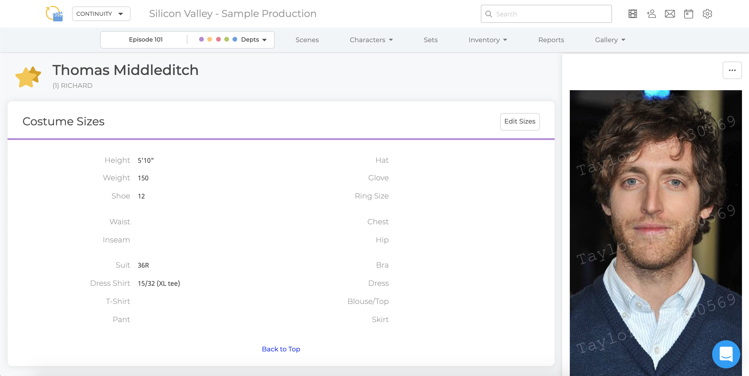 Actor View Page