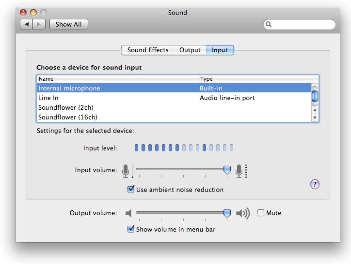 input audio settings on Apple computer