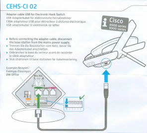 cable connection between sennheiser headset and Cisco EHS