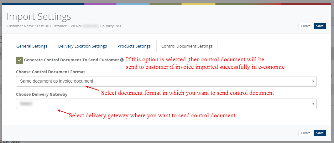 Import settings - Control document settings