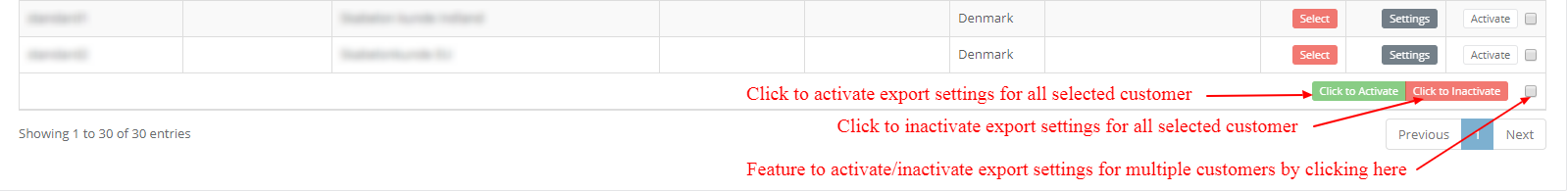 Export rules - Activation of multiple customers