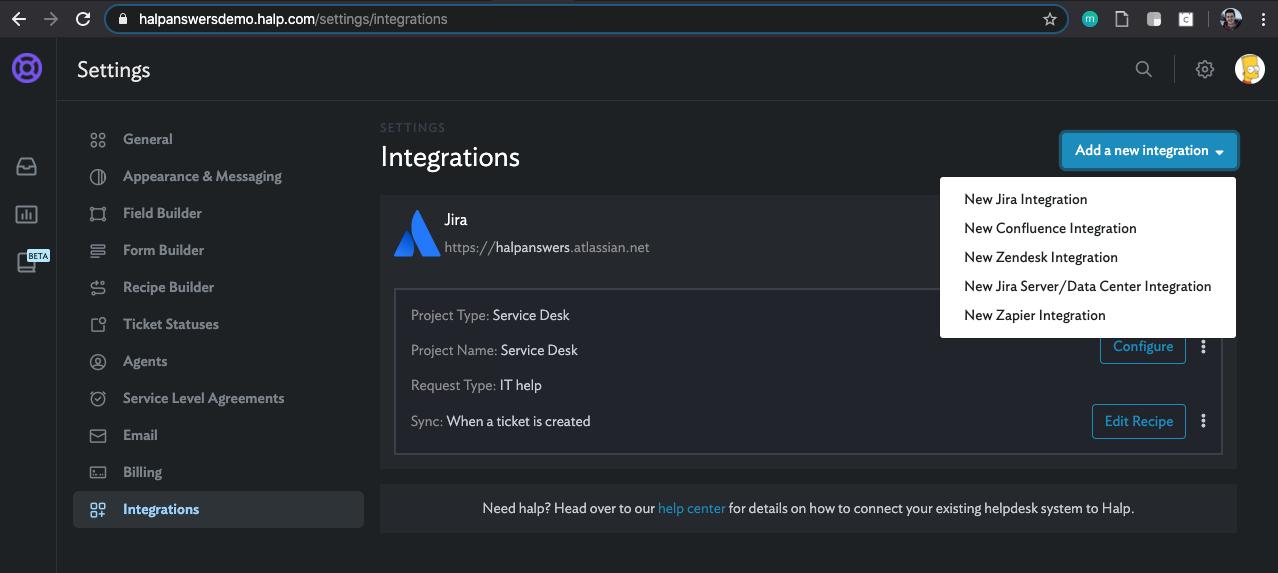 integration settings