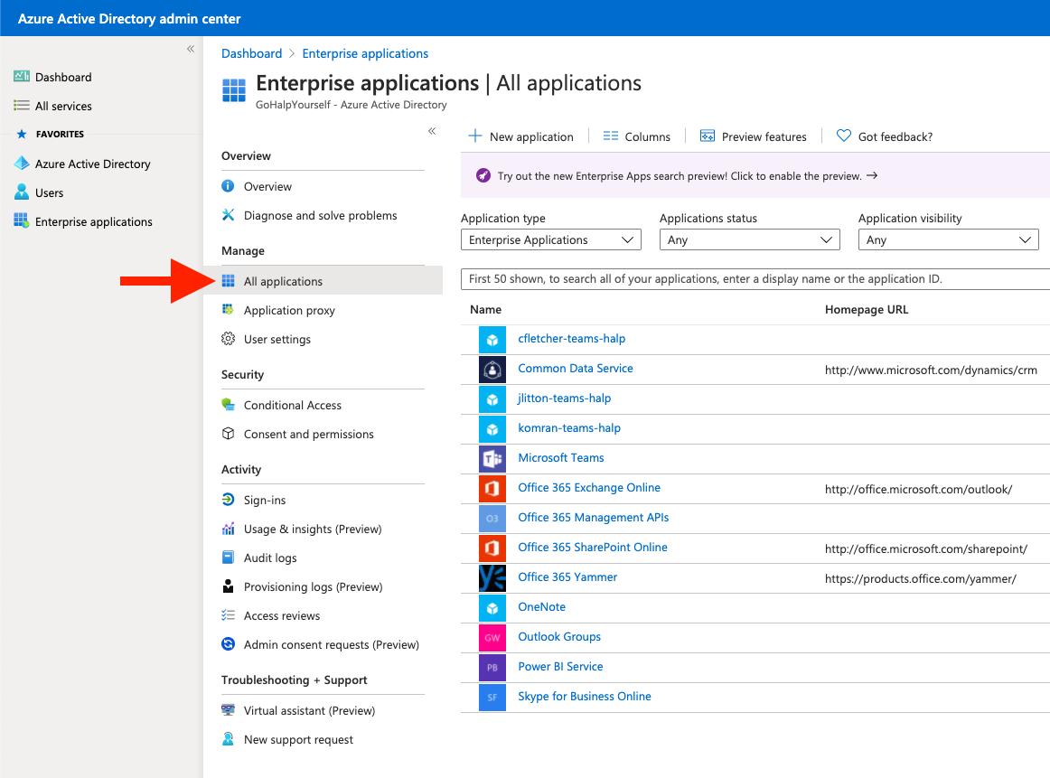 Enterprise Applications list