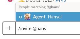 using the /invite command in the slack triage channel