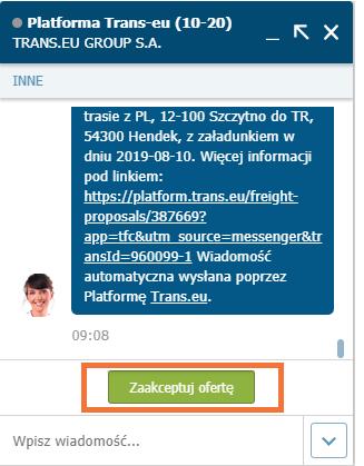 Zawieranie transakcji na komunikatorze na Transie