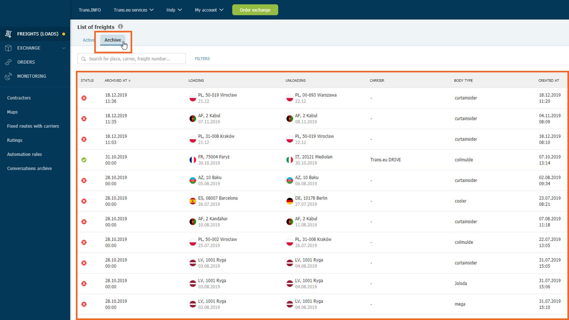 Archive tab on the Trans.eu Platform