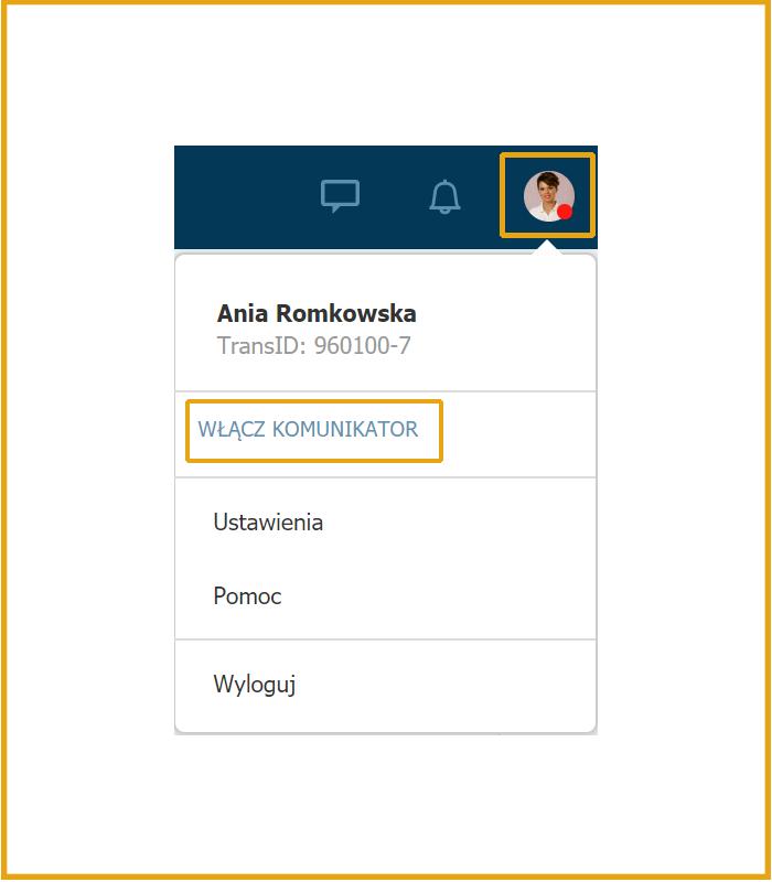 okno komunikatora na nowej Platformy logistycznej Trans.eu