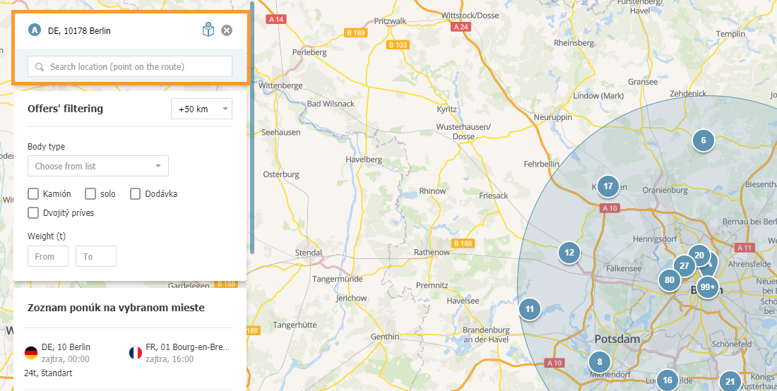 Ponuky nákladov z dopravnej databázy sú viditeľné v Mapách