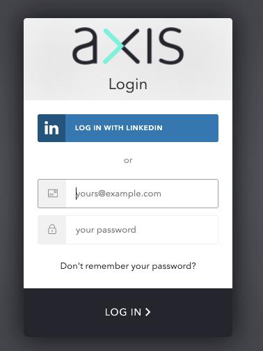 A screenshot of the login form