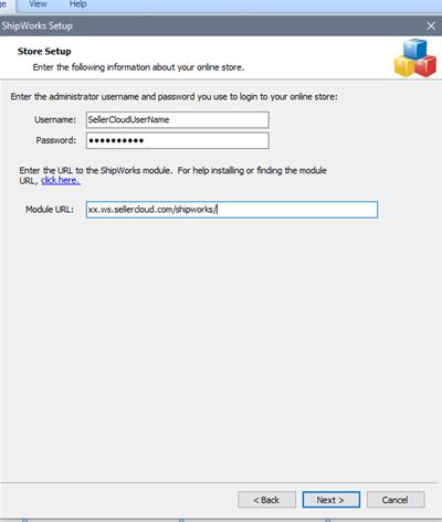 sellercloud shipworks setup login credentials