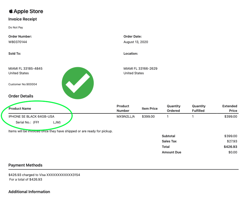 Invoice de Apple