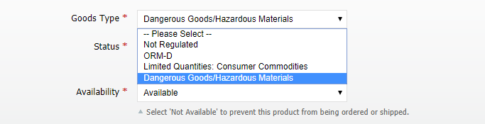 Dangerous Goods product attribute