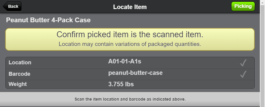 Scanner UI Picking Quantity-type products warning