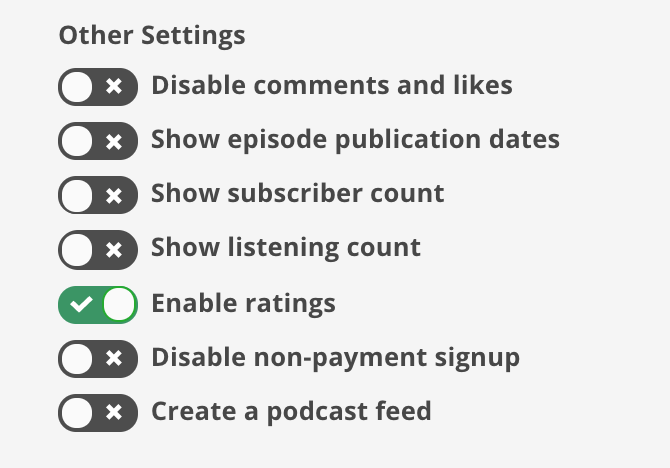 How to enable ratings on a Soundwise soundcast