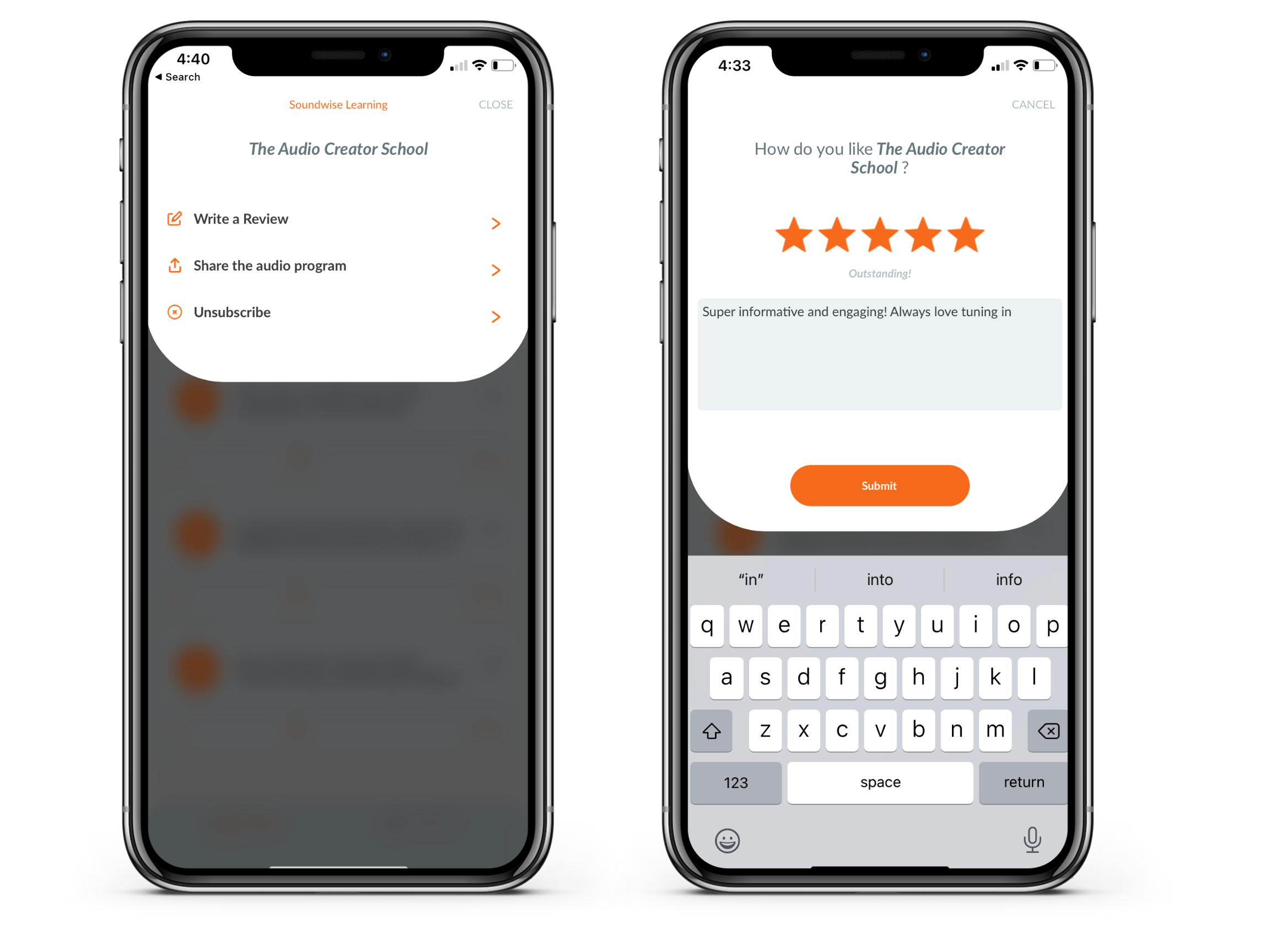 How users can leave soundcast reviews