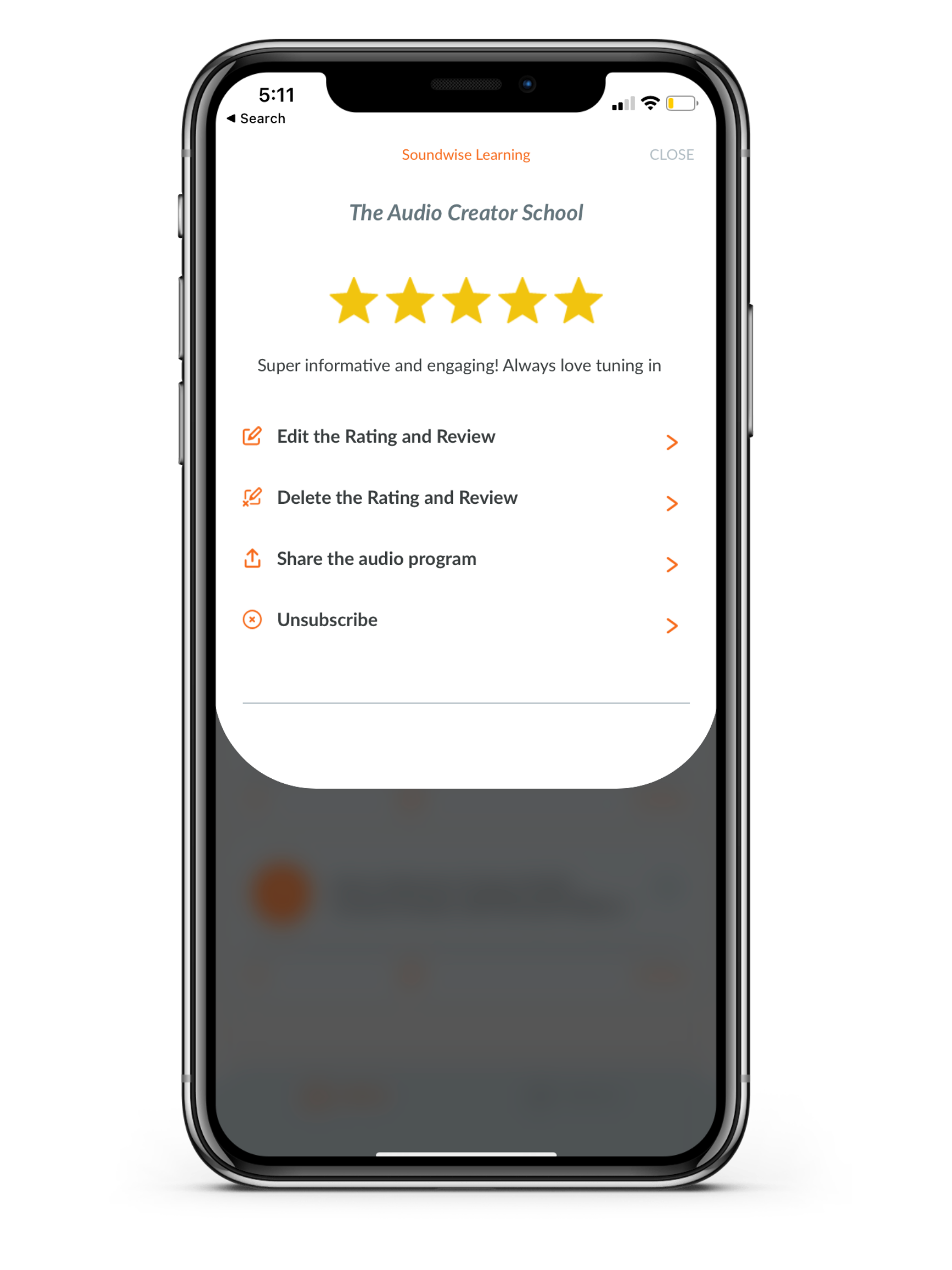 Editing ratings on Soundwise mobile app