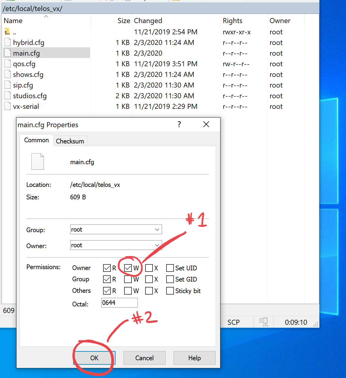Screenshot showing the Write option in the Owners row and OK button