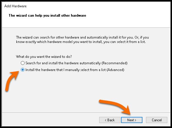 Install hardware selected manually