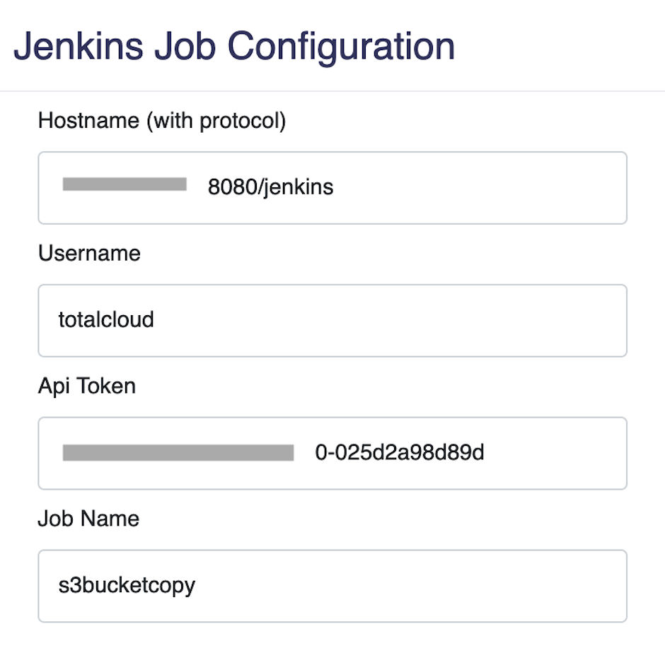 Parameters to enter for Jenkins Node