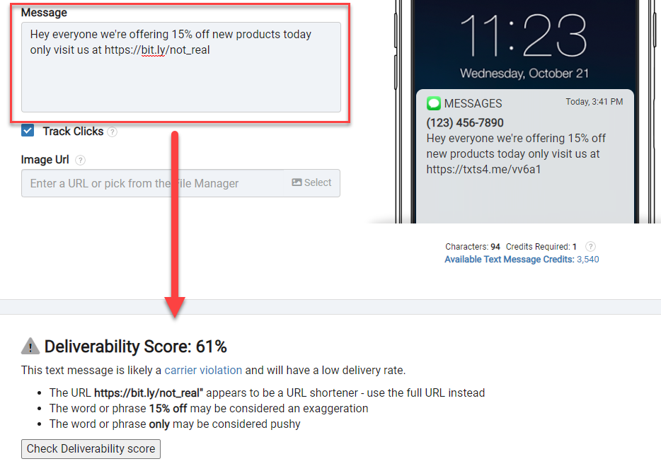 Use deliverability score to avoid carrier violations