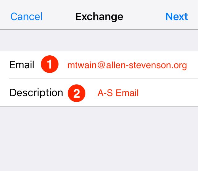 iOS Exchange Setup 1