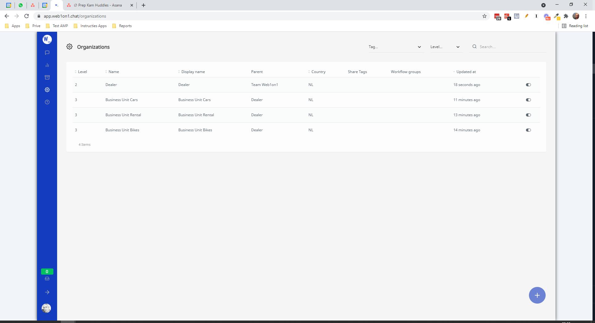 Web1on1 Sub Accounts list