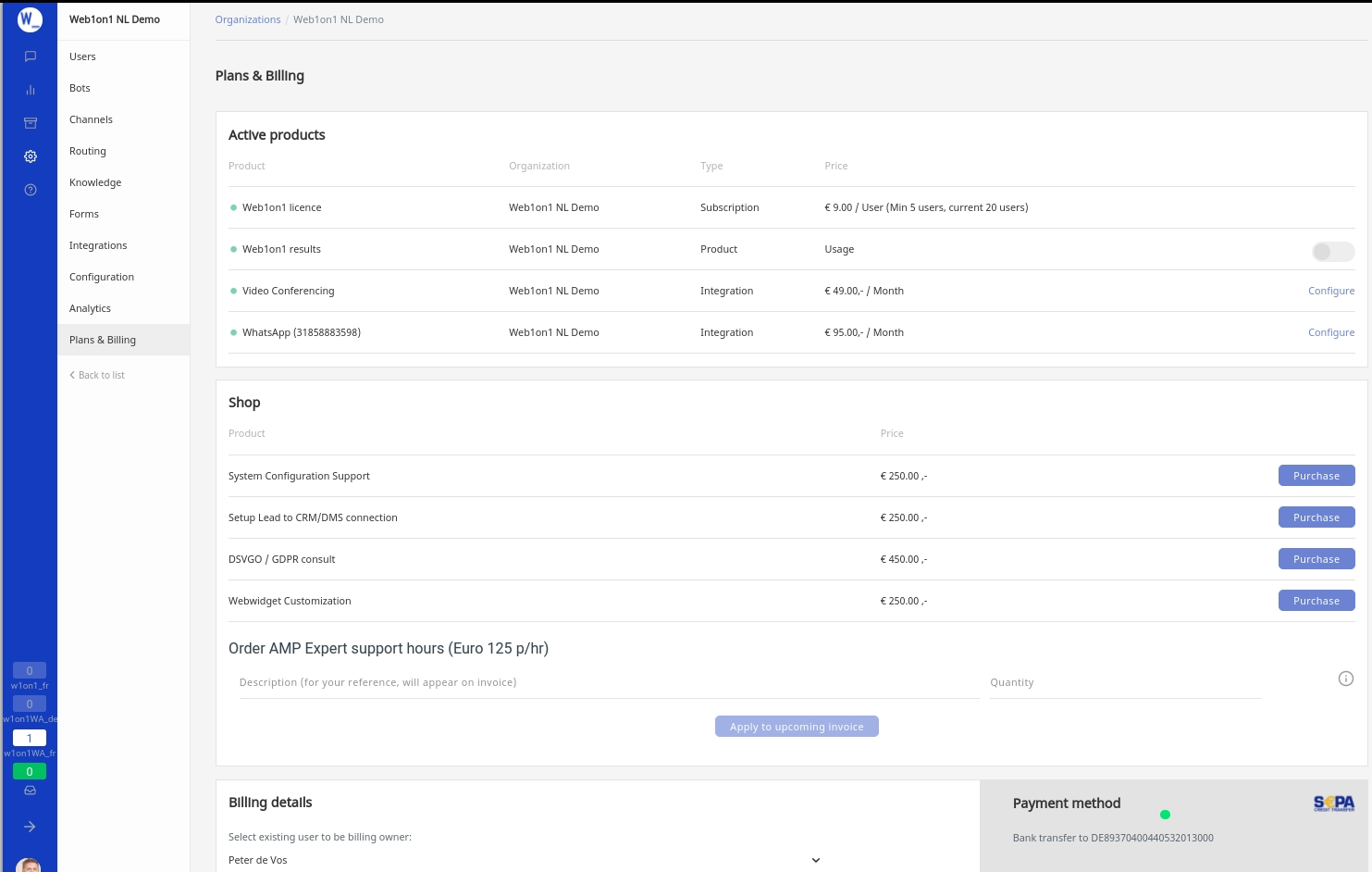 Web1on1 plans and billing page