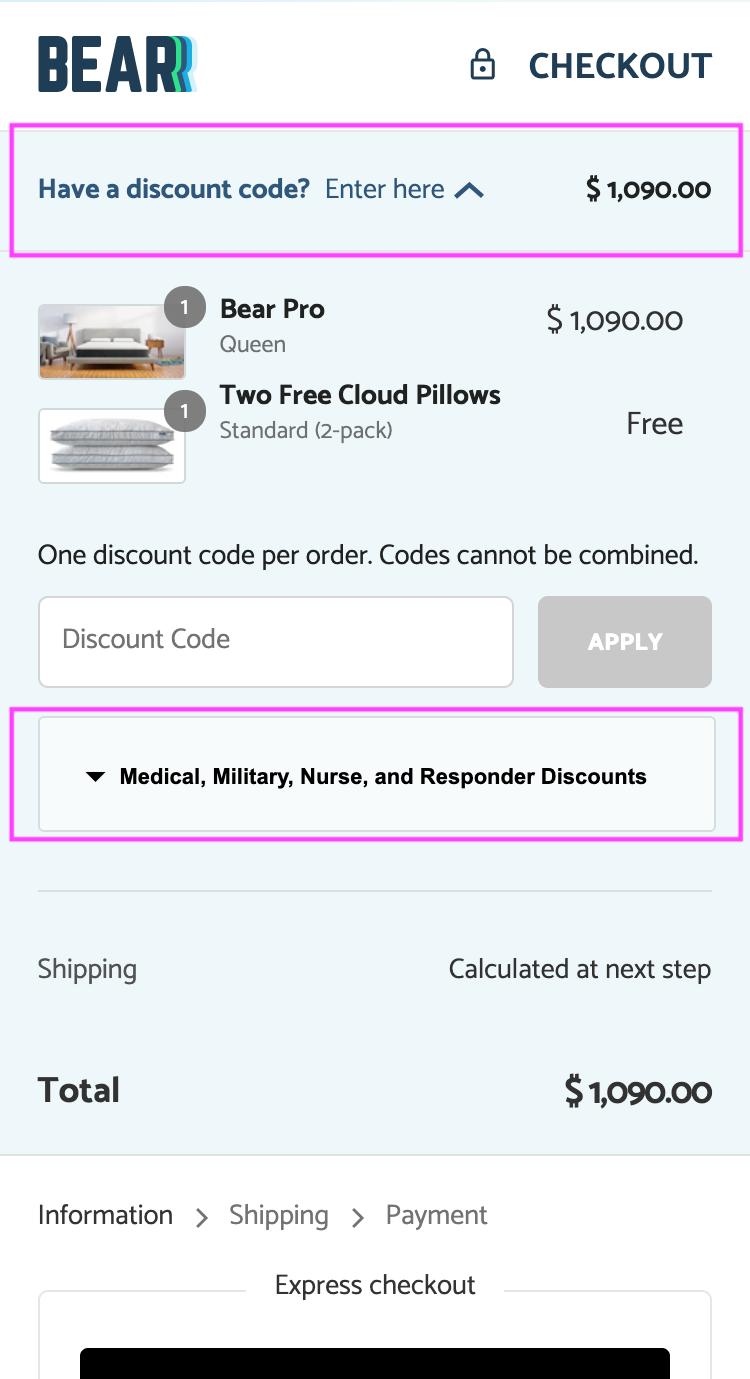 Bear mattress checkout discount field
