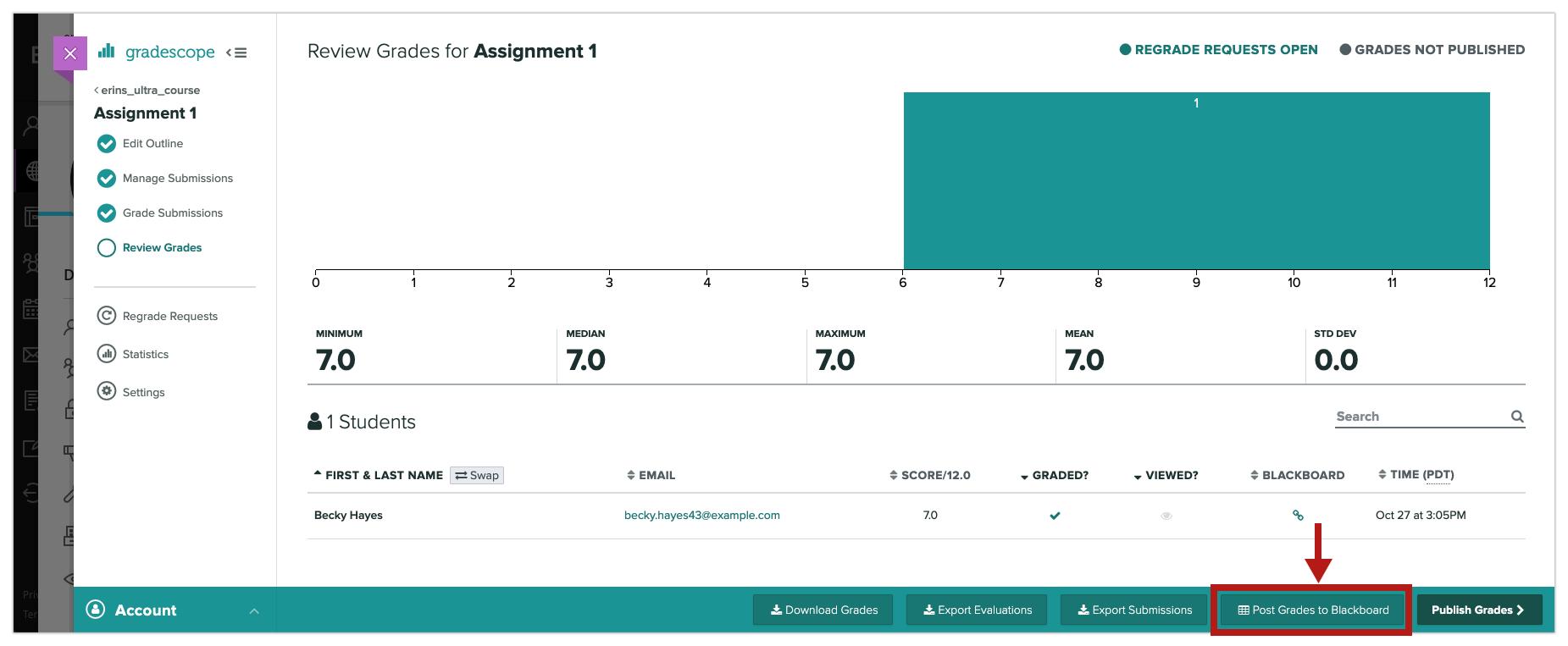 Instructor posting Gradescope grades to Blackboard