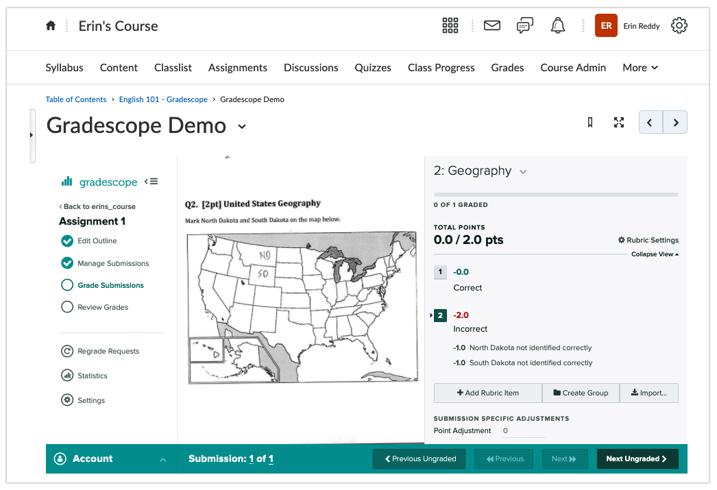 Instructor grading using Gradescope in D2L