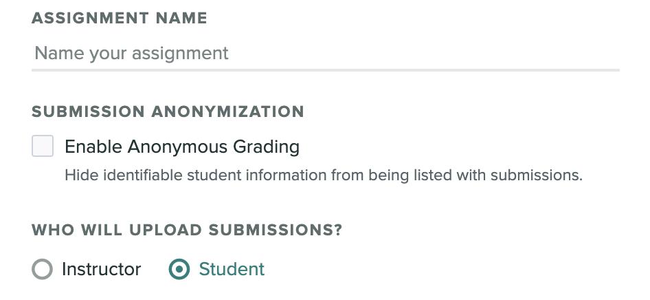 Anonymous Grading setting