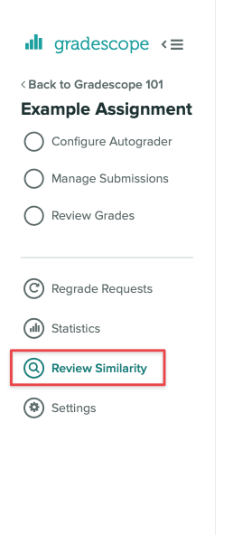 New Review Similarity step in the left sidebar