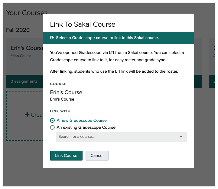 Sakai instructor linking Sakai and Gradescope courses