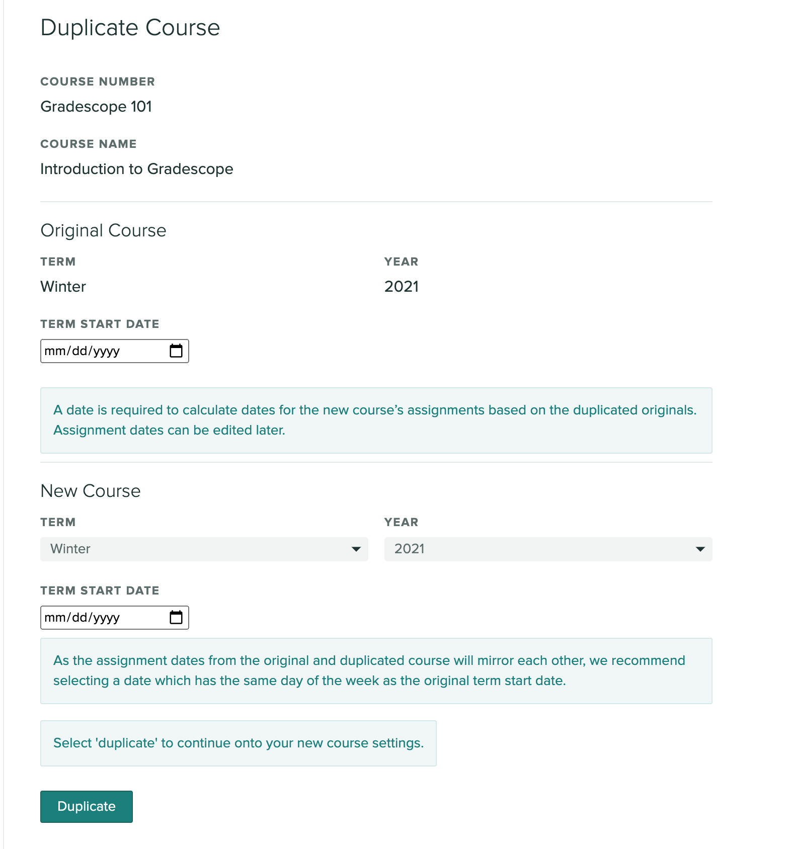 Duplicate course settings