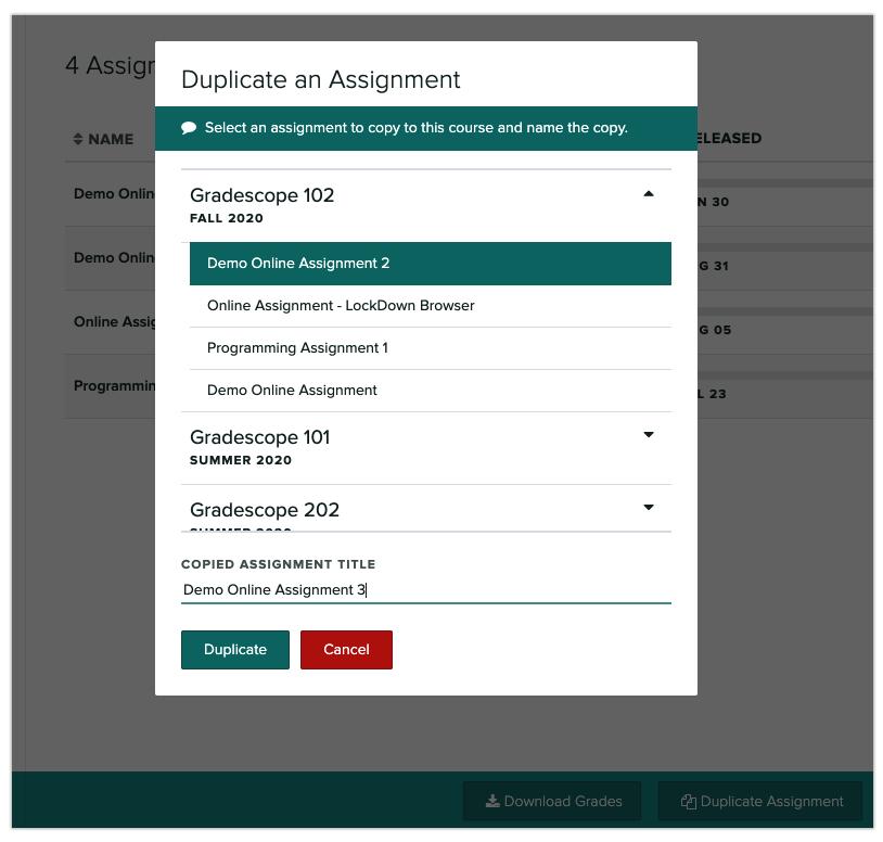 Duplicating assignments dialog box