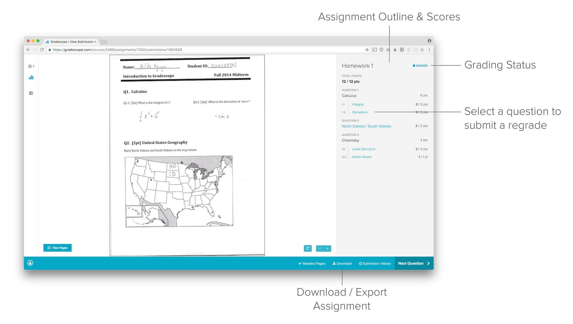 Interface for viewing your submission and the assignment outline after grades are published