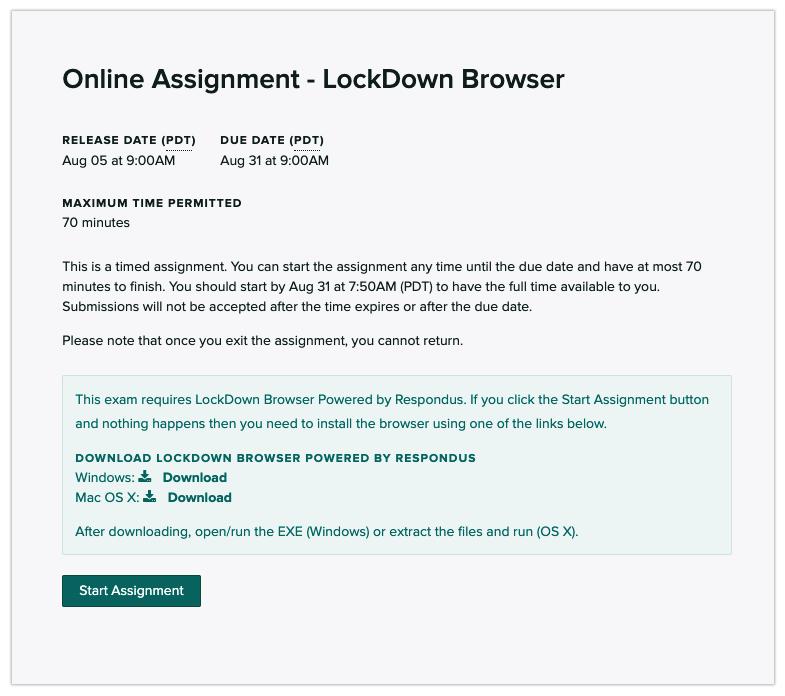 LockDown Browser start assignment message