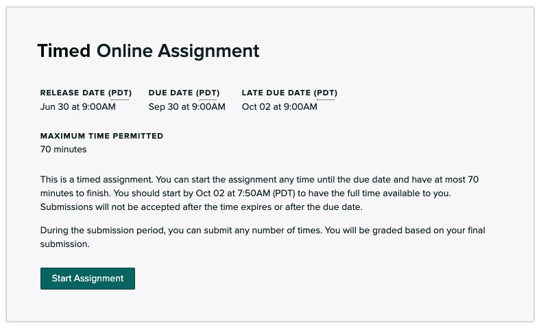 Timed assignment dialog box