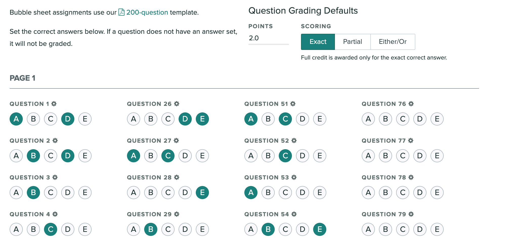 The Answer Key page showing grading options selected and correct answers indicated.