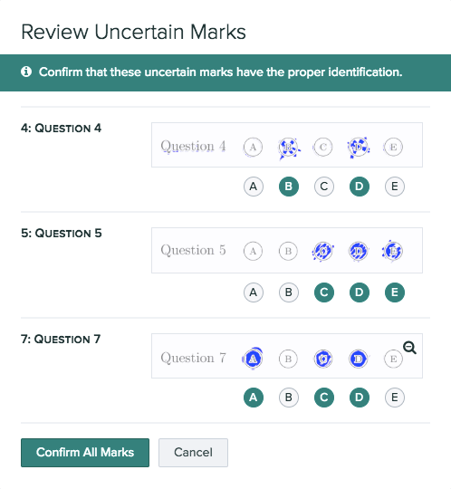 Uncertain student marks need to be manually reviewed to ensure they are graded correctly.
