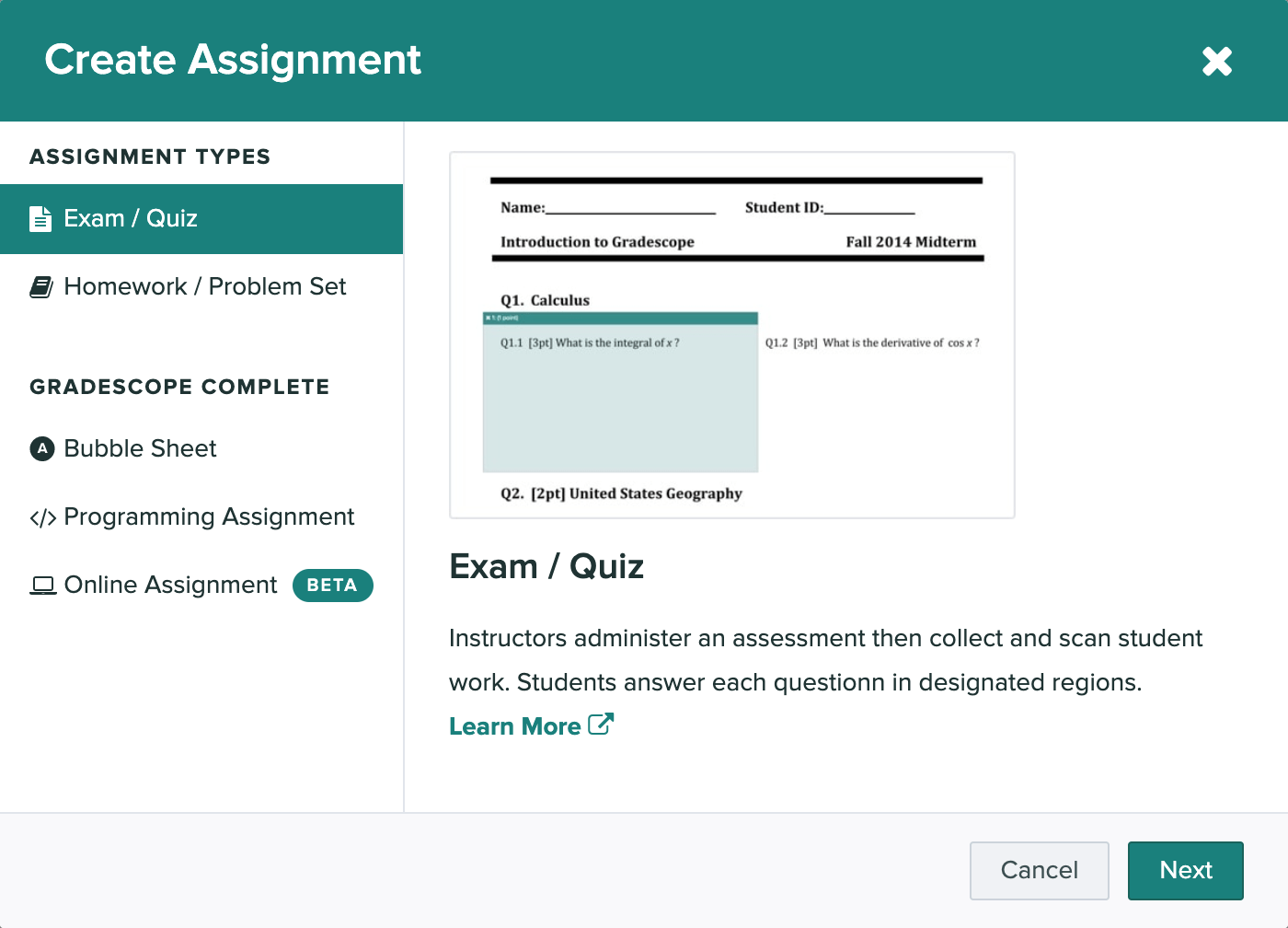 The create assignment modal is open and the exam / quiz option is selected.